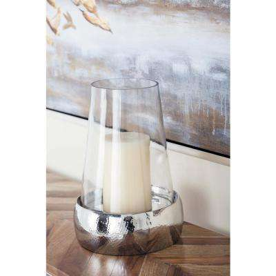 13 in. Stainless Steel and Glass Hurricane Candle Holder