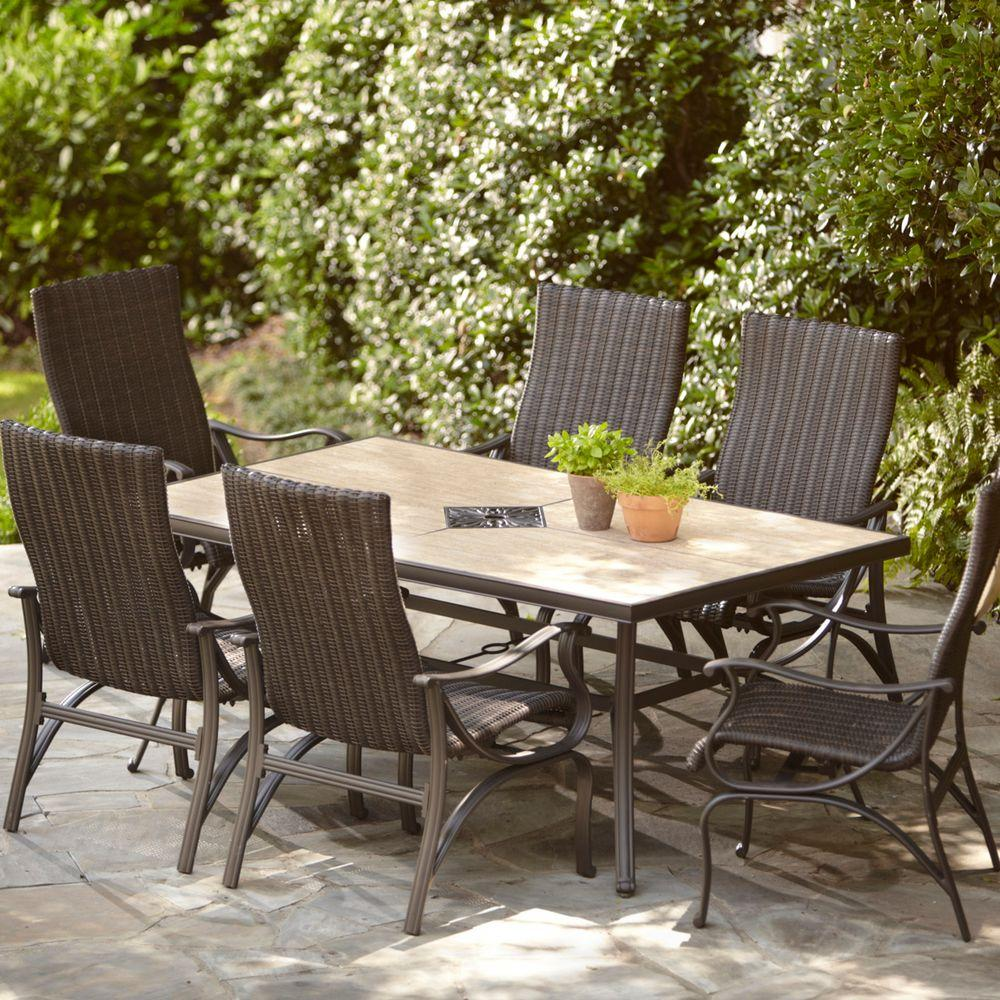 bellevue alfresco chairs patio products aluminum furniture long twinings dennison outdoor tables piece sets island ny set dining