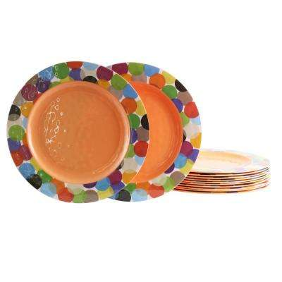 Party Circles Orange Melamine Dinner Plate (Set of 12)