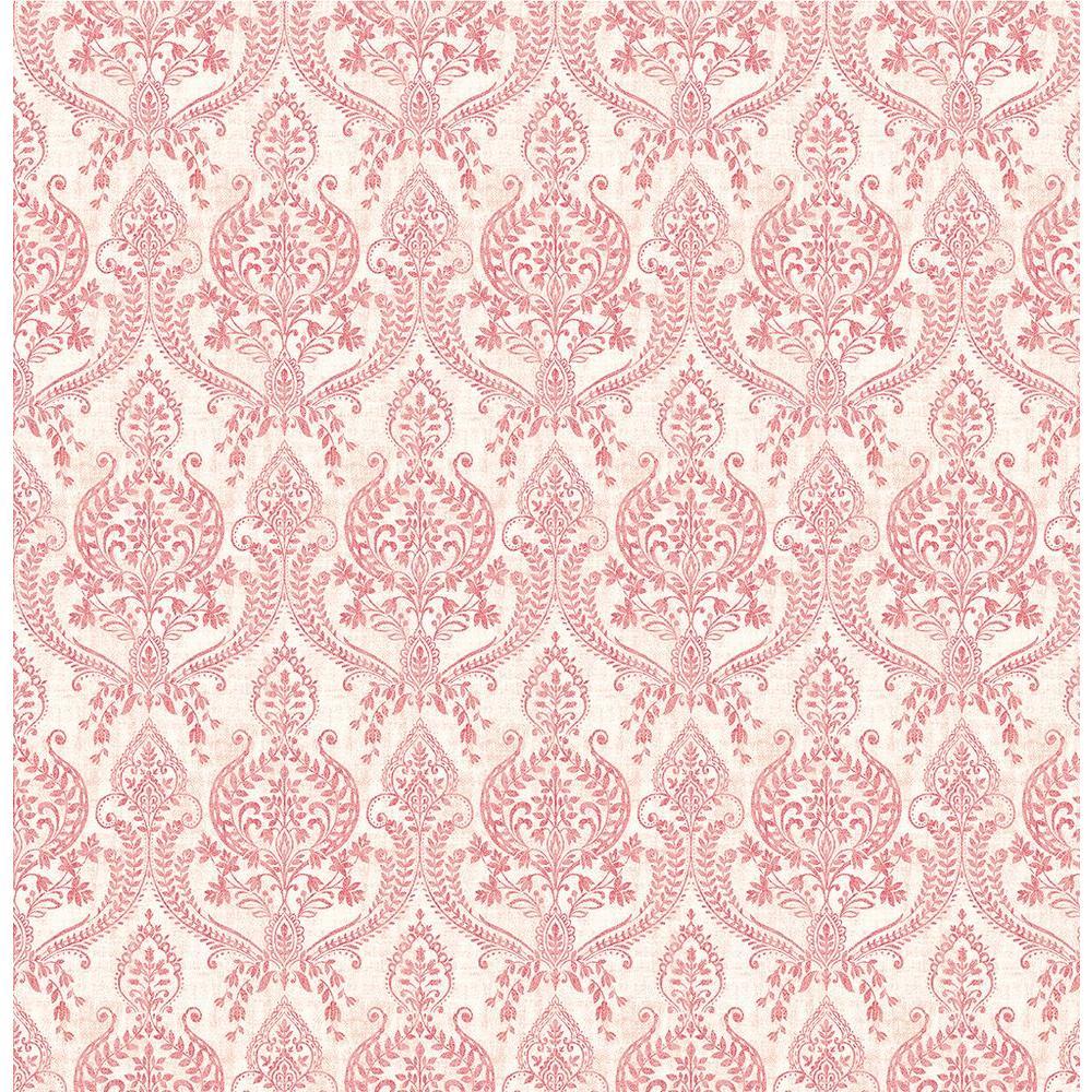 A-Street Waverly Red Petite Damask Wallpaper 1014-001816