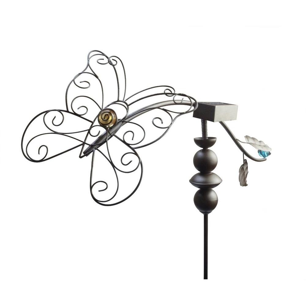 Solar-Powered Backyard Brown Dancing Butterfly Brighter LED Metal Stake Light