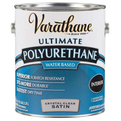 1 gal. Clear Satin Water-Based Interior Polyurethane (2-Pack)