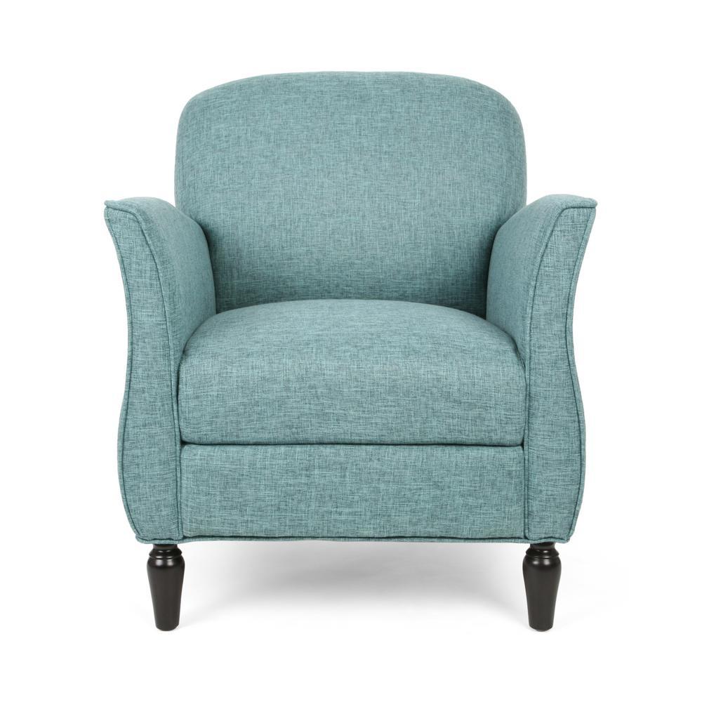 Swainson Traditional Teal Tweed Fabric Armchair