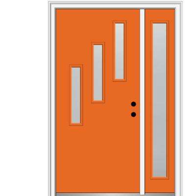 51 in. x 81.75 in. Davina Frosted Glass Left-Hand Inswing 3-Lite Modern Painted Steel Prehung Front Door with Sidelite