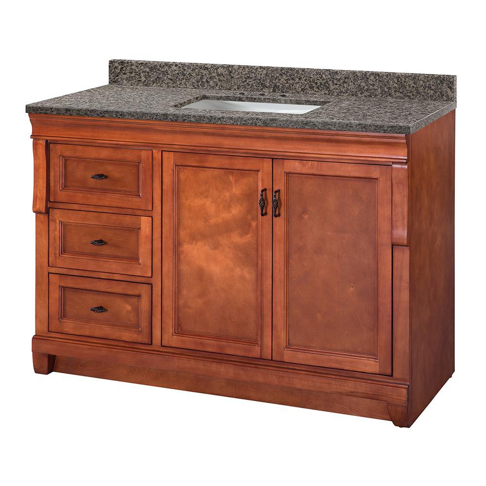 Naples 49 in. W x 22 in. D Vanity in Warm Cinnamon with Granite Vanity Top in Sircolo with White Sink