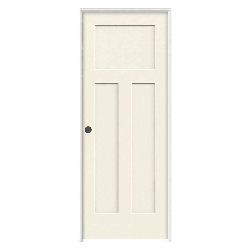Jeld Wen 24 In X 80 In Craftsman Vanilla Painted Right Hand Smooth Molded Composite Mdf Single
