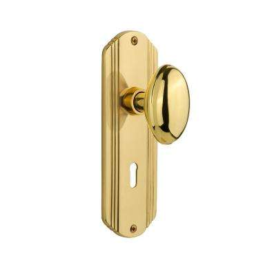 Deco Plate with Keyhole 2-3/8 in. Backset Unlacquered Brass Privacy Homestead Door Knob