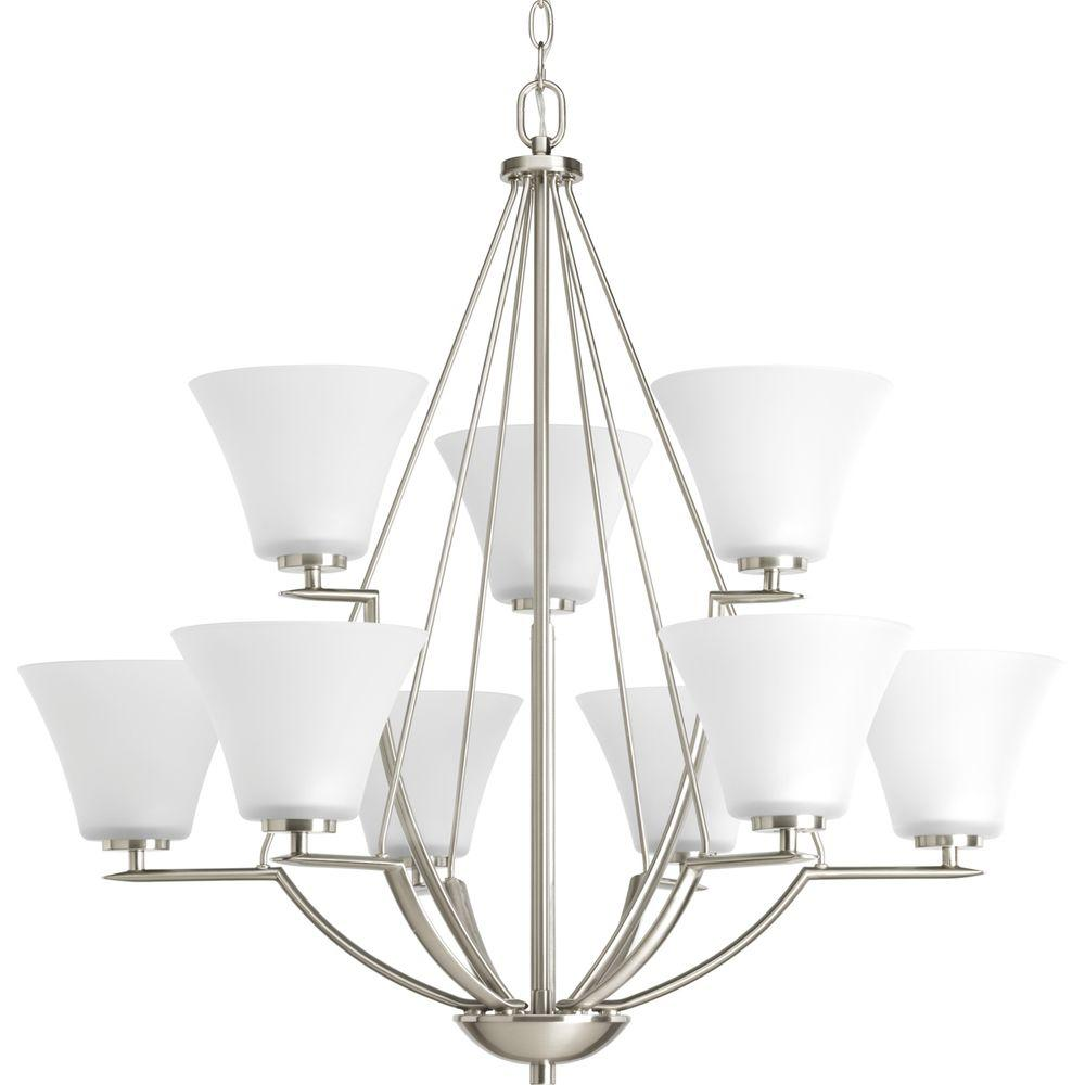 Bravo Collection 9-Light Brushed Nickel Chandelier with Shade with Etched Glass