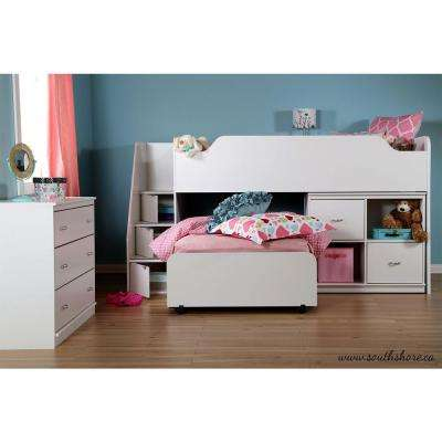 Mobby 3-Drawer Pure White Twin-Size Loft Bed