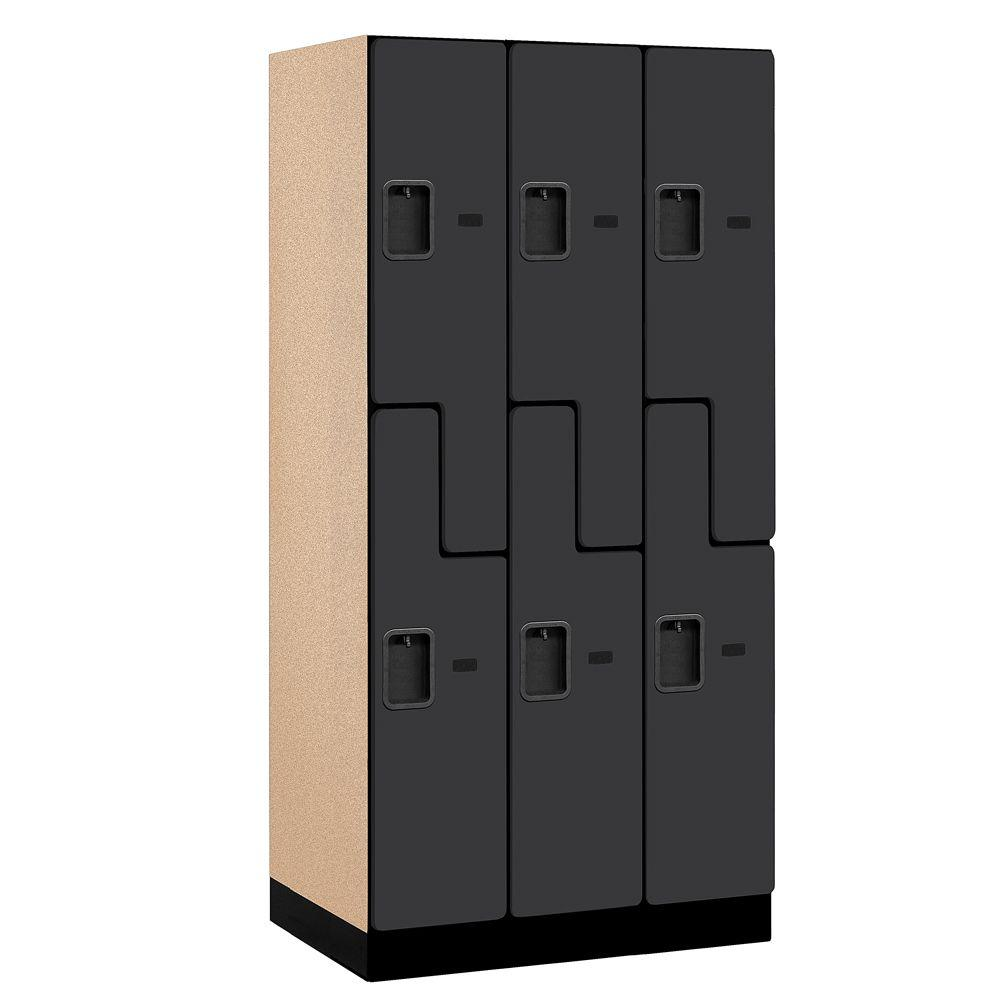 Salsbury Industries 37000 Series 36 in. W x 76 in. H x 21 in. D 2-Tier S-Style Designer Wood Locker in Black