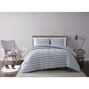 Maddow Stripe Grey Full/Queen 3-Piece Comforter Set