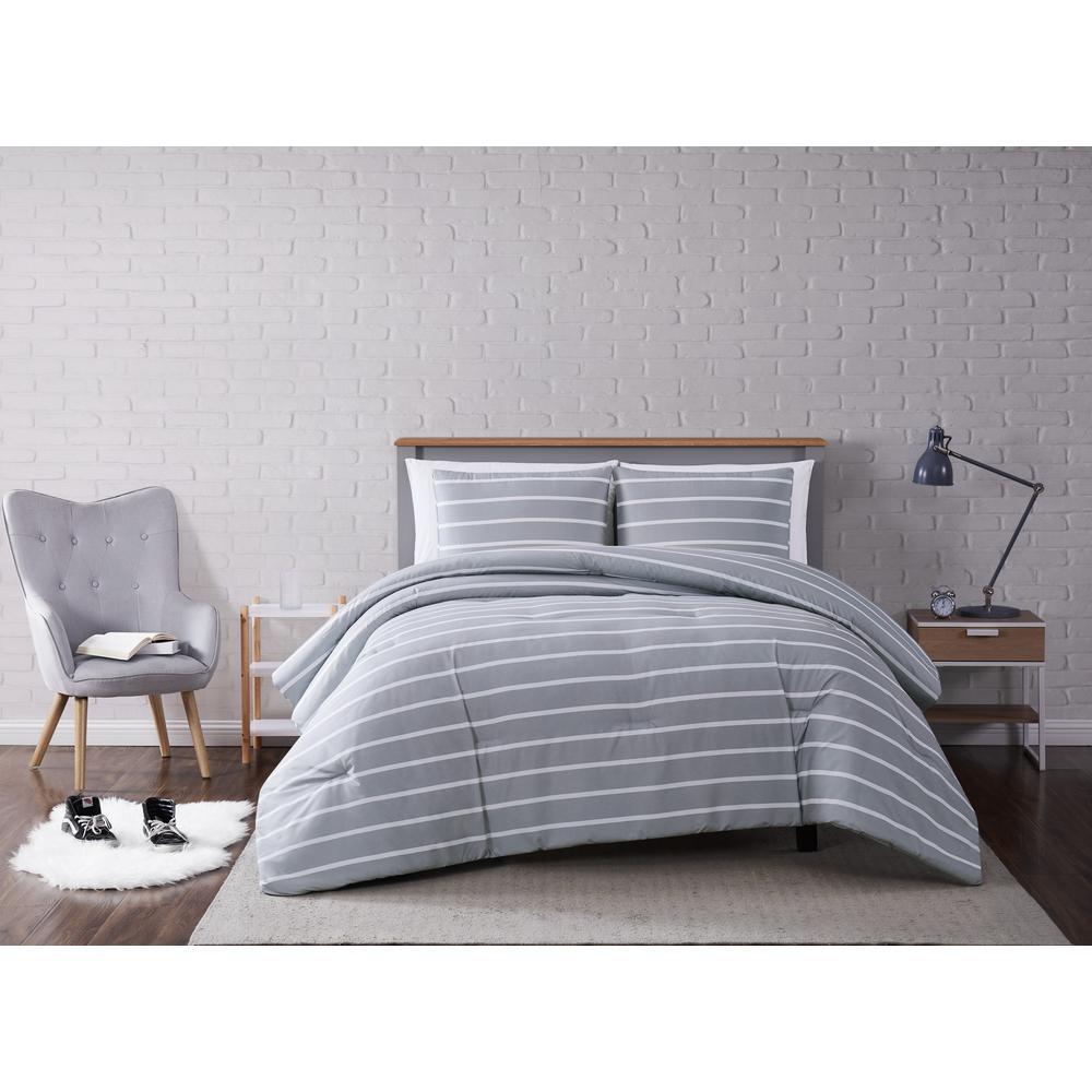 Maddow Stripe Grey King 3-Piece Comforter Set