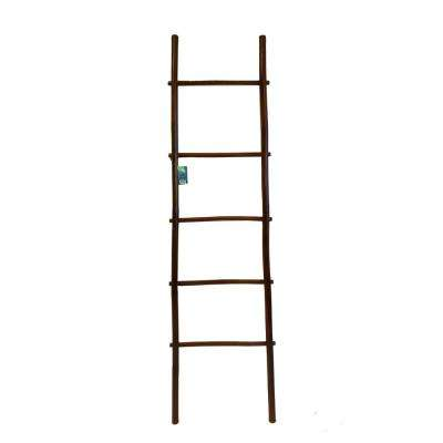 6 ft. 5-Shelf Stained Bamboo Ladder Towel Rack in Mahogany