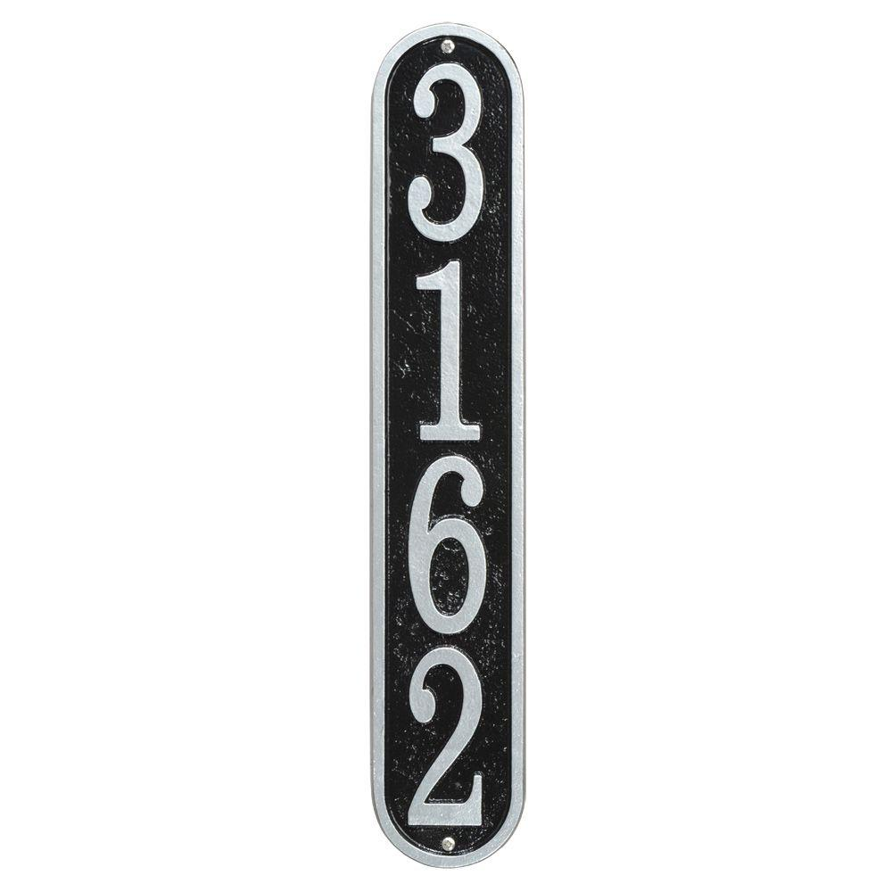 Fast and Easy Vertical House Number Plaque, Black/Silver