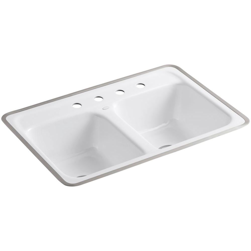 Kohler Delafield Tile In Cast Iron 32 In 4 Hole Double