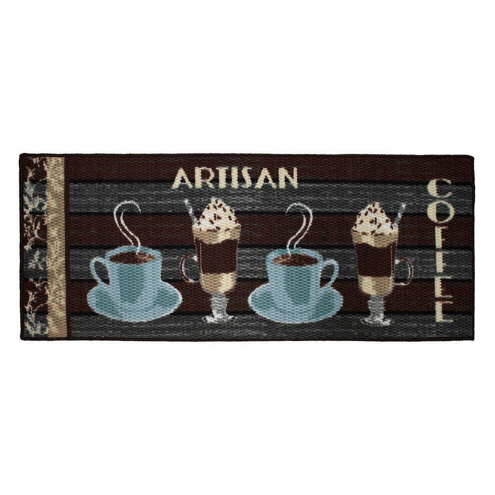 Artisan Coffee 20 in. x 48 in. Textured Accent Kitchen Runner