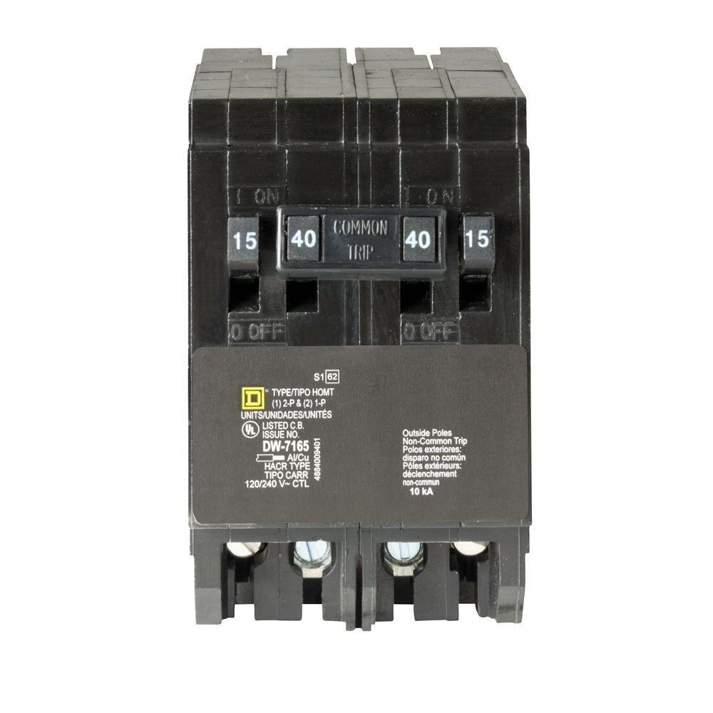 Homeline (2) 15 Amp Single-Pole (1) 40 Amp 2-Pole Quad Tandem Circuit Breaker