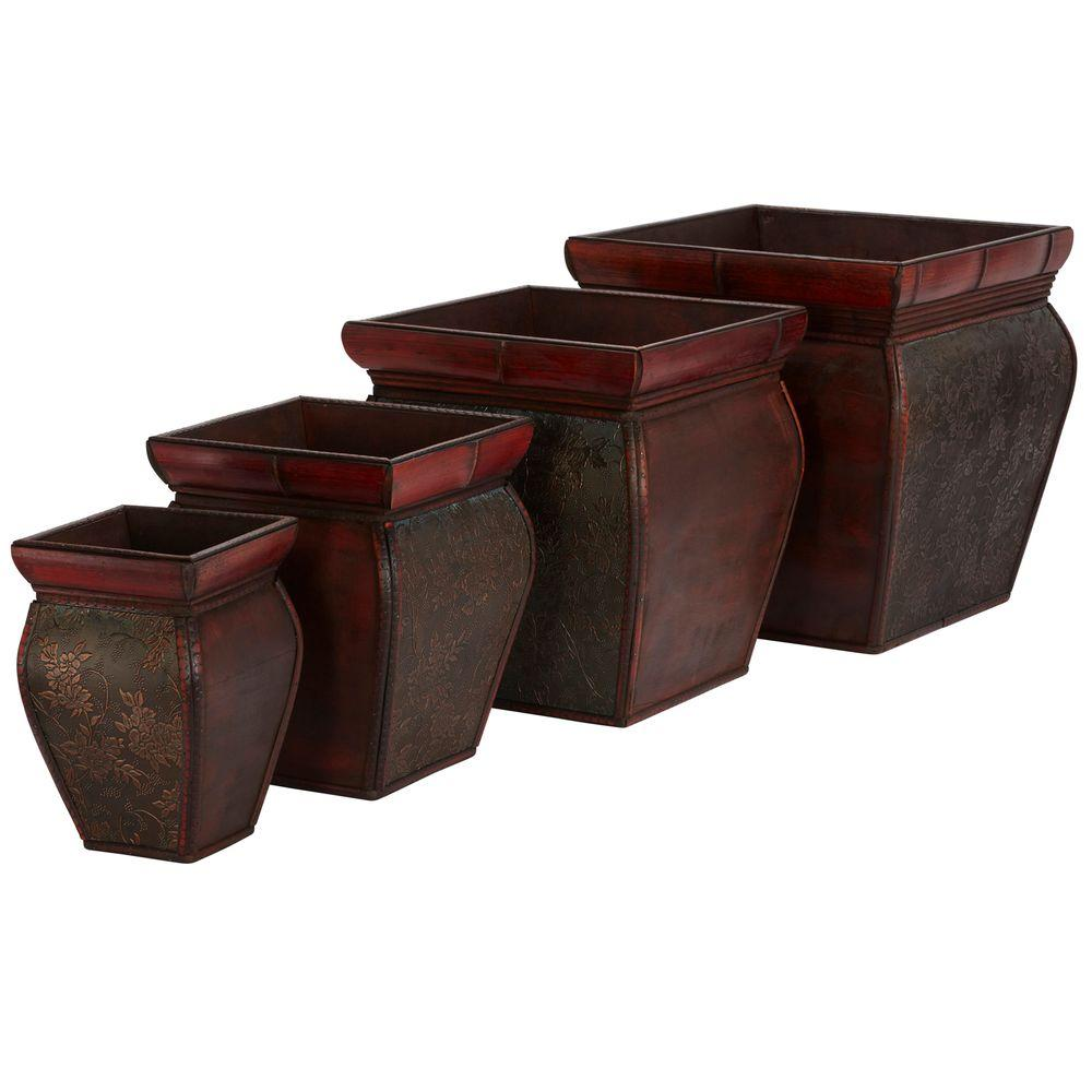 Nearly Natural 14 in. H Burgundy Square Planters with Rim (Set of 4)