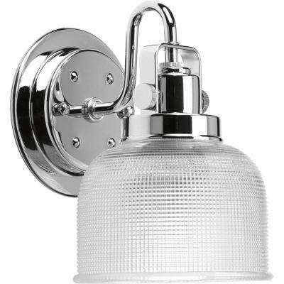 Archie Collection 5.75 in. 1-Light Chrome Bath Sconce with Clear Prismatic Glass Shade