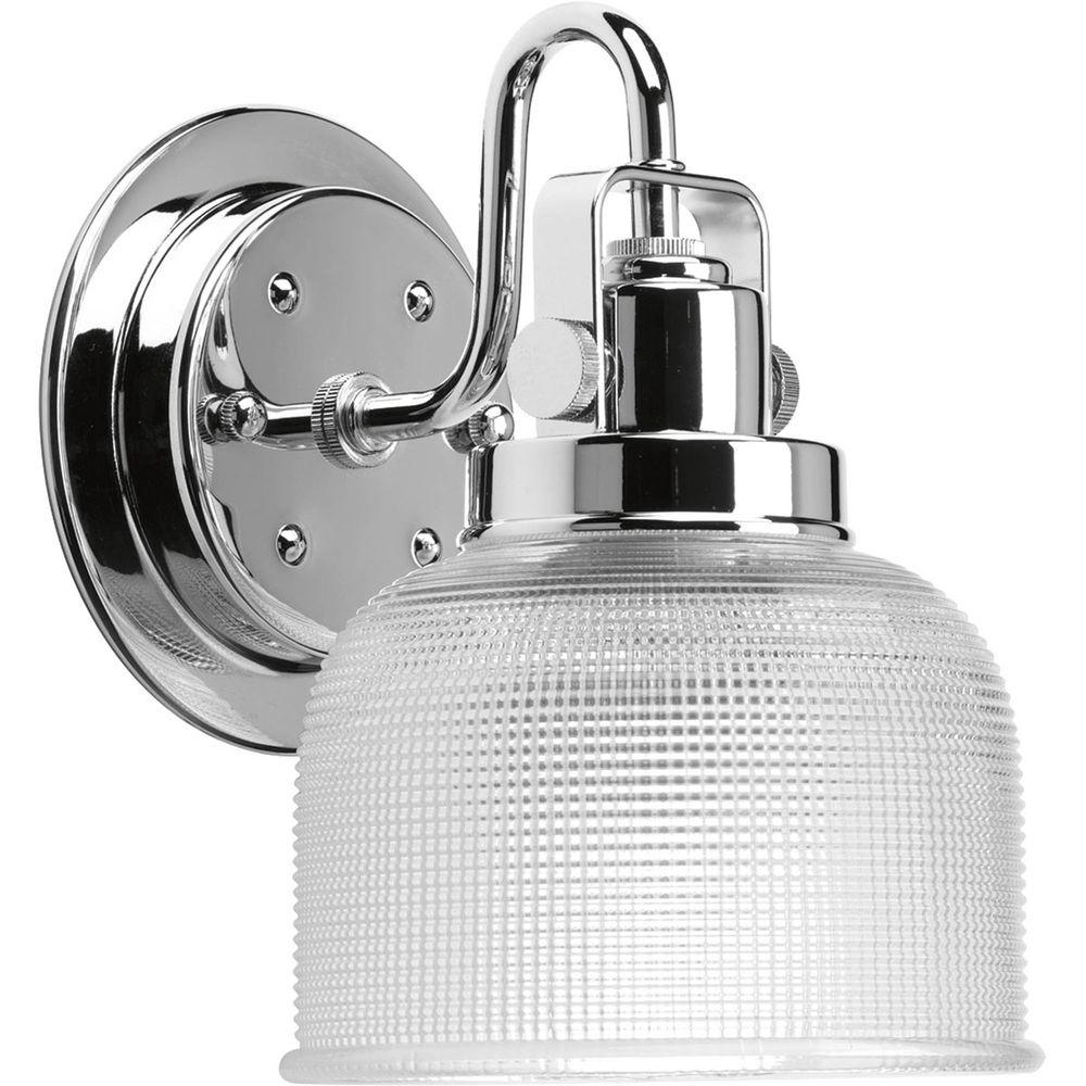 Progress Lighting Archie Collection 1-Light Chrome Bath Sconce with Clear Prismatic Glass Shade