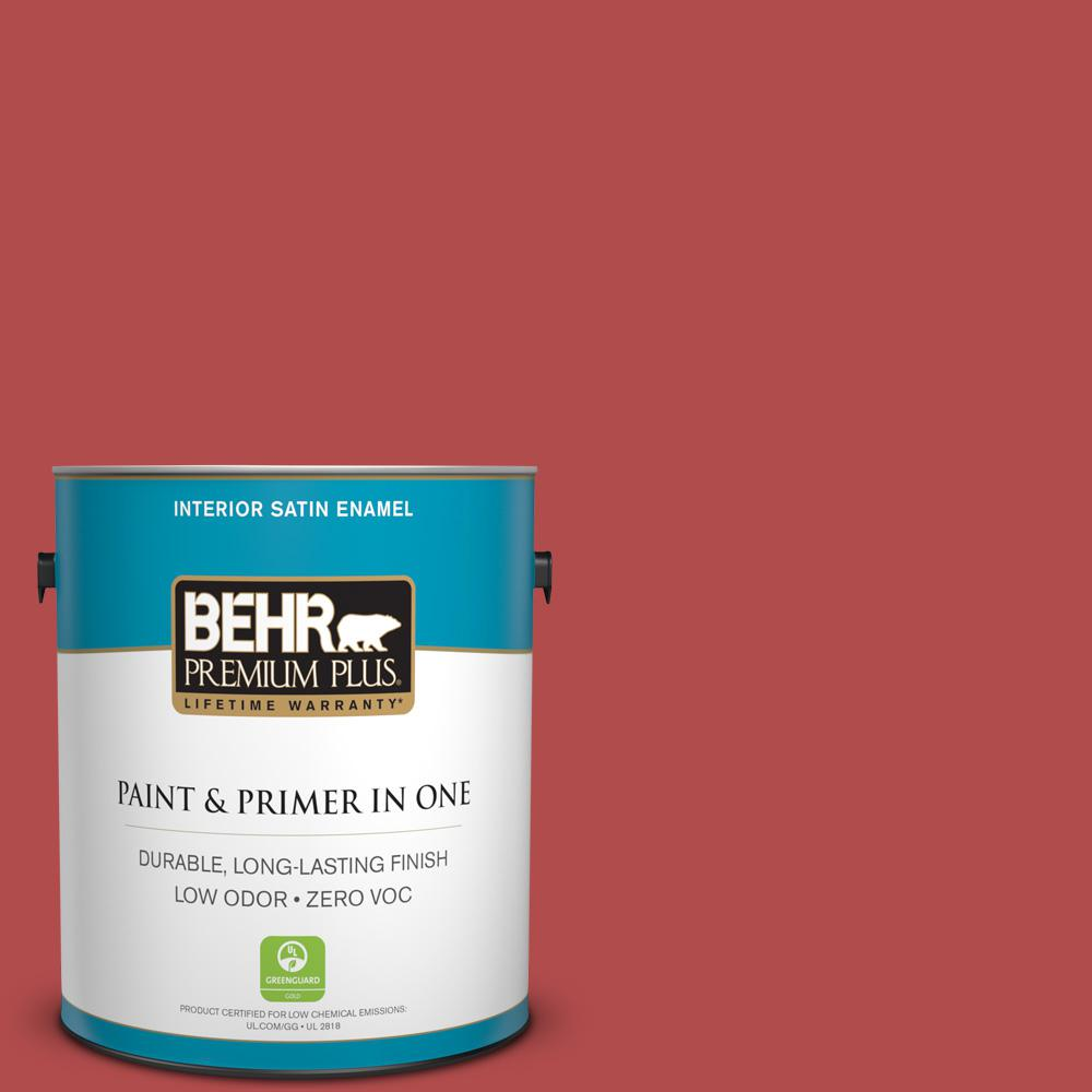 1-gal. #BIC-48 Fortune Red Satin Enamel Interior Paint