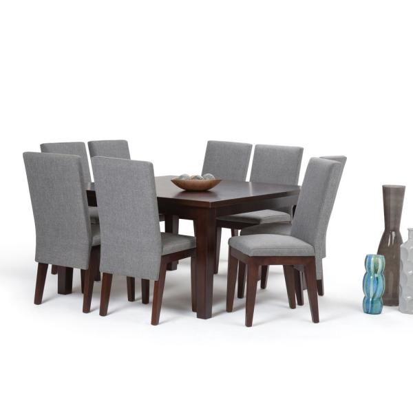 Jennings 9 Piece Dining Set With 8 Upholstered Chairs In Grey Linen Look Fabric And 54 Wide Table