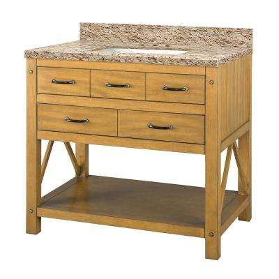 Avondale 37 in. W x 22 in. D Vanity in Weathered Pine with Granite Vanity Top in Giallo Ornamental with White Basin
