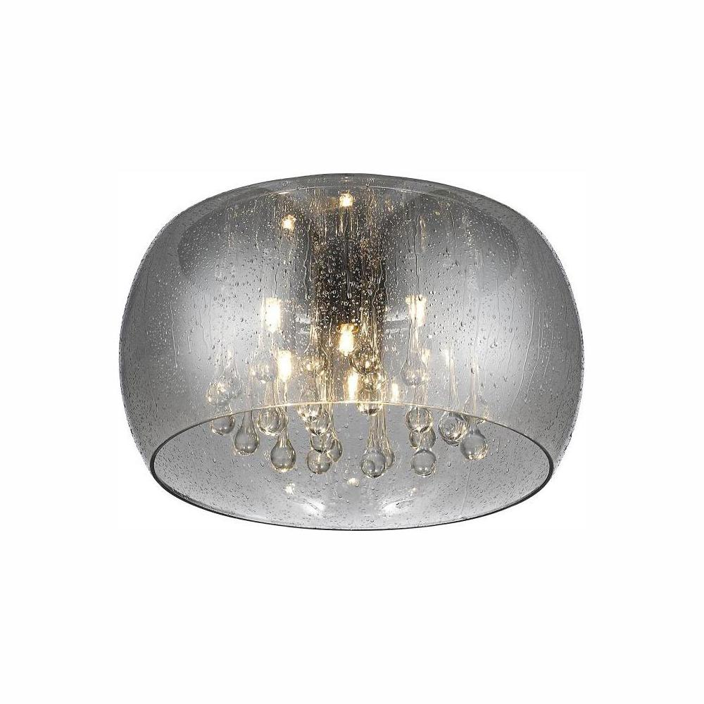 Home Decorators Collection 5-Light Chrome Glass Integrated LED Flush Mount with Clear Glass Beads