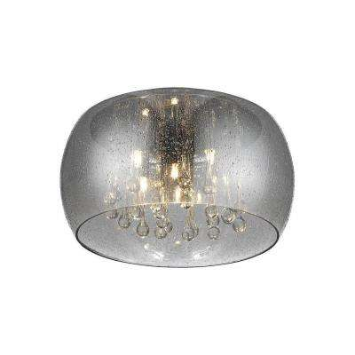 5-Light Chrome Glass Integrated LED Flush Mount with Clear Glass Beads