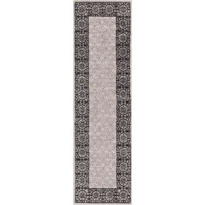 Mystic Gabby Grey 2 ft. x 7 ft. Solid Ombre Tile Border Modern Runner Rug
