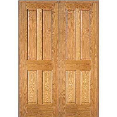 72 in. x 80 in. 4-Panel Unfinished Red Oak Wood Both Active Solid Core Double Prehung Interior Door