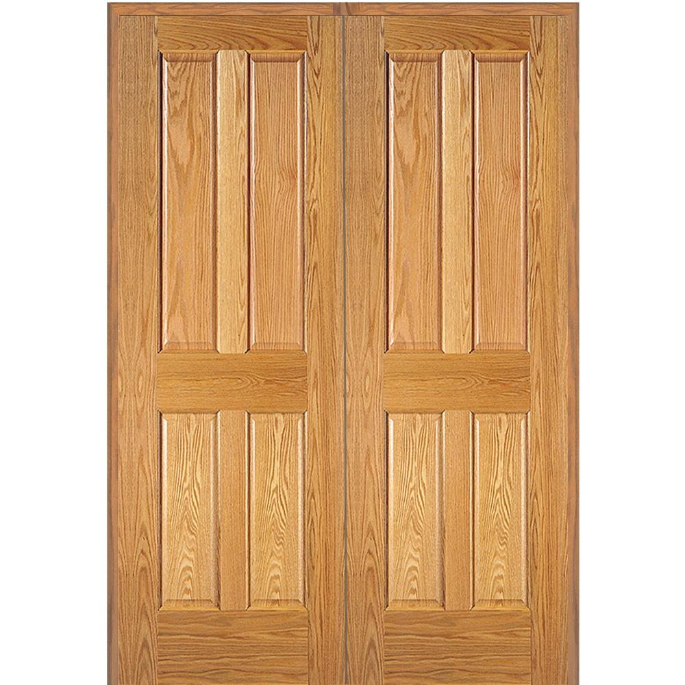 Mmi door 73 5 in x in unfinished red oak 4 panel for Home double door