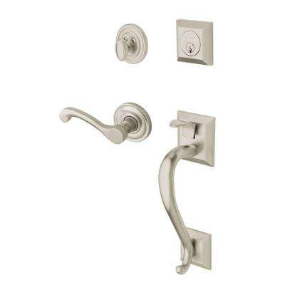 Madison Single Cylinder Satin Nickel Right-Handed Door Handleset with Wave Lever