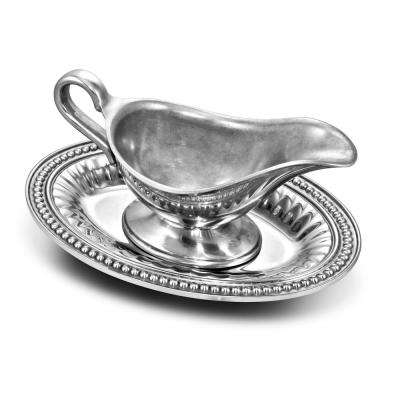 Flutes and Pearls Gravy Boat with Oval Tray
