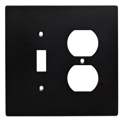 Black 2-Gang 1-Toggle/1-Duplex Wall Plate (1-Pack)