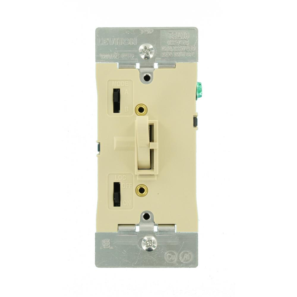 Leviton 300-Watt Dimmable LED/CFL 600-Watt Incandescent and Halogen Toggle Slide Universal Dimmer, Ivory