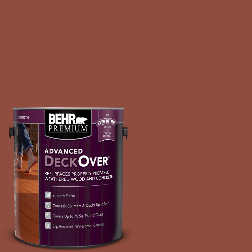 Behr Premium Advanced Deckover 1 Gal Sc 330 Redwood Smooth Solid Color Exterior Wood And Concrete Coating 500001 The Home Depot