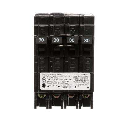 30 Amp Double-Pole and (2) 30 Amp Single-Pole Type QT Quad Circuit Breaker