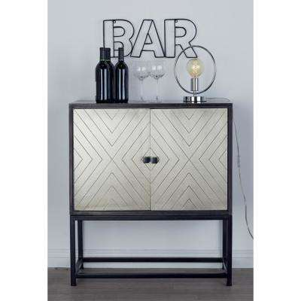 Stained Wood and Metallic Bronze 2-Door Cabinet
