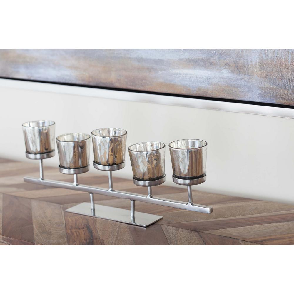5 in. 5-Pedestal Silver-Finished Glass Votive Holder