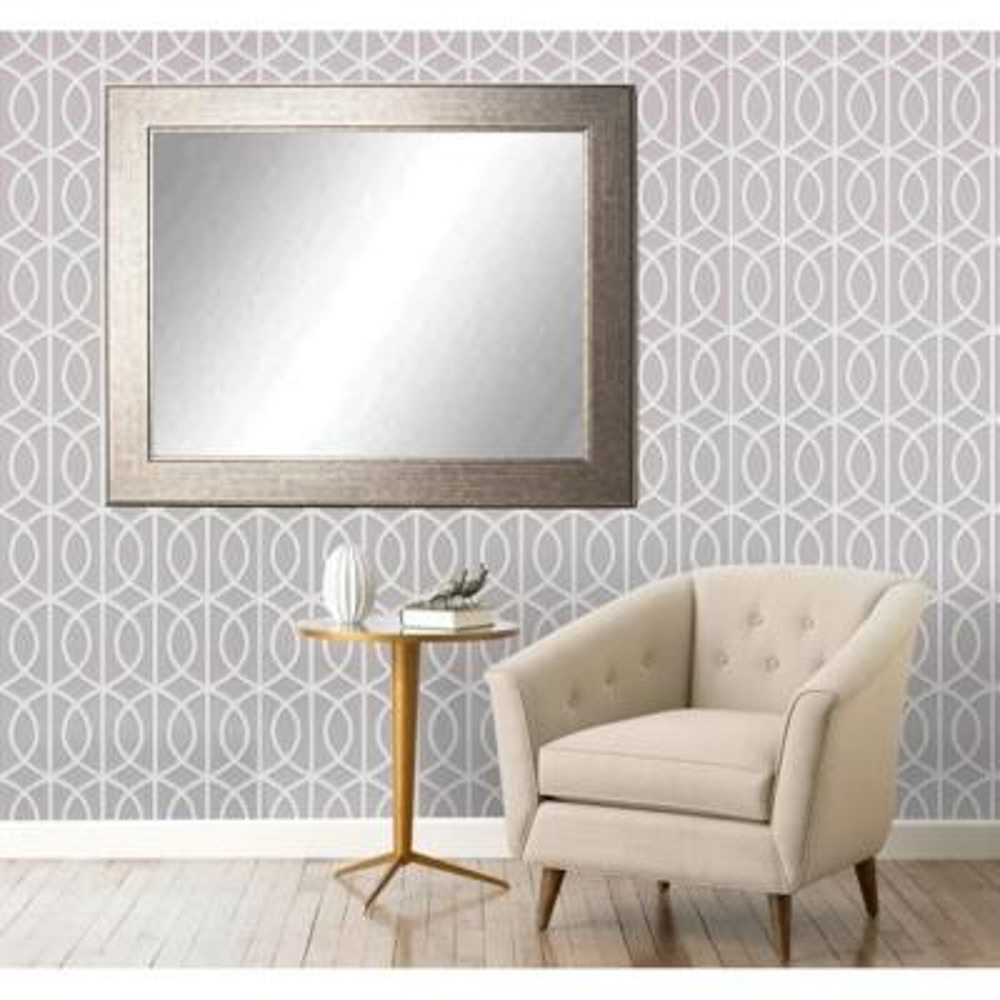 Medium Rectangle Silver/Gold Hooks Modern Mirror (38 in. H x 32 in. W)