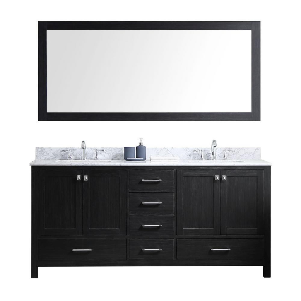 Virtu USA Caroline Avenue 72 inch W x 22 inch D x 34.21 inch H Zebra Grey Vanity with Marble Vanity Top with White Basin... by Virtu USA