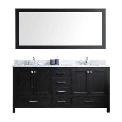 Caroline Avenue 72 in. W x 22 in. D x 34.21 in. H Zebra Grey Vanity with Marble Vanity Top with White Basin and Mirror