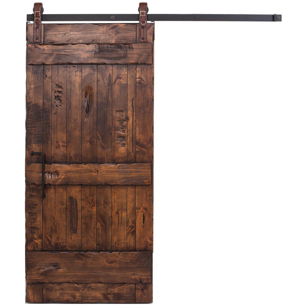 Ranch Stain Glaze Wood Sliding Barn Door With Maverick Hardware Kit And Angle Pull