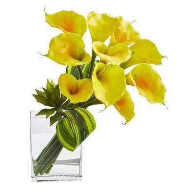20 in. High Yellow Calla Lily and Succulent Bouquet Artificial Arrangement