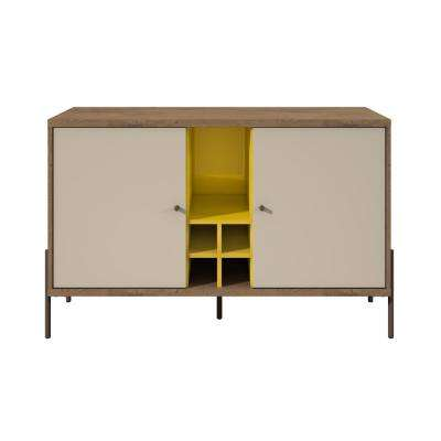 Joy Yellow, Off White and Oak 4-Bottle Wine Buffet Stand