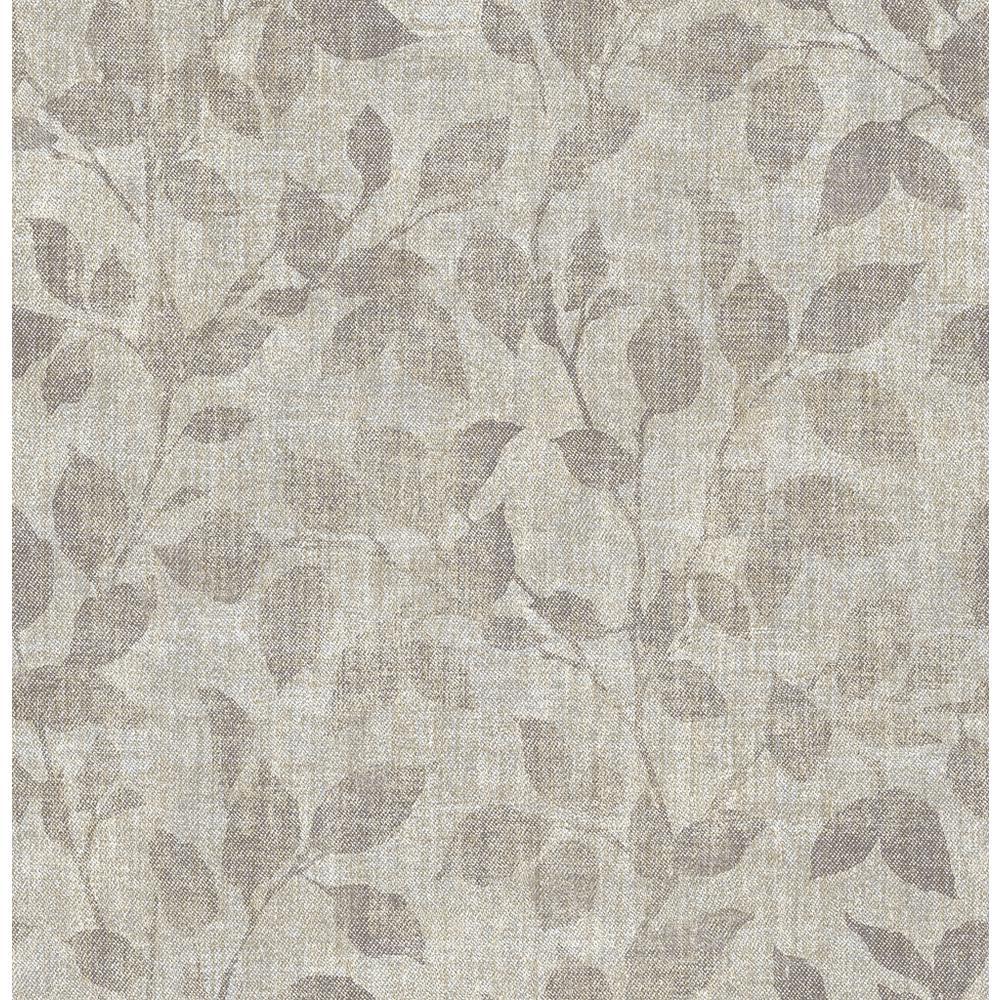 56.4 sq. ft. Gramercy Park Pewter Leaf Wallpaper