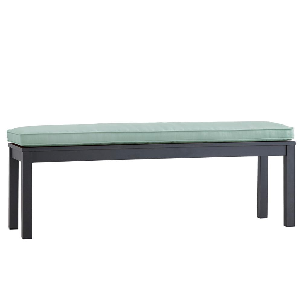 Awesome Thoren Aluminum Outdoor Bench With Sunbrella Blue Cushion
