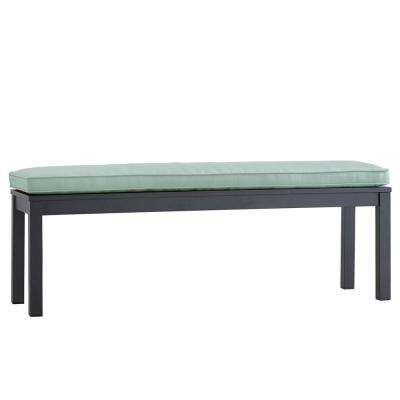 Thoren Aluminum Outdoor Bench with Sunbrella Blue Cushion