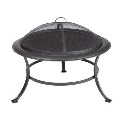 Tokia 30 in. Round Steel Fire Pit in Antique Bronze